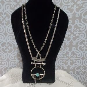 Boho Silver Necklace With Torquoise Rock
